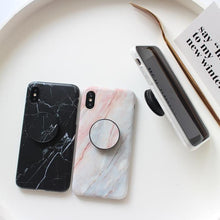 Load image into Gallery viewer, Sleek Marble PopSocket Holder Case For iPhone