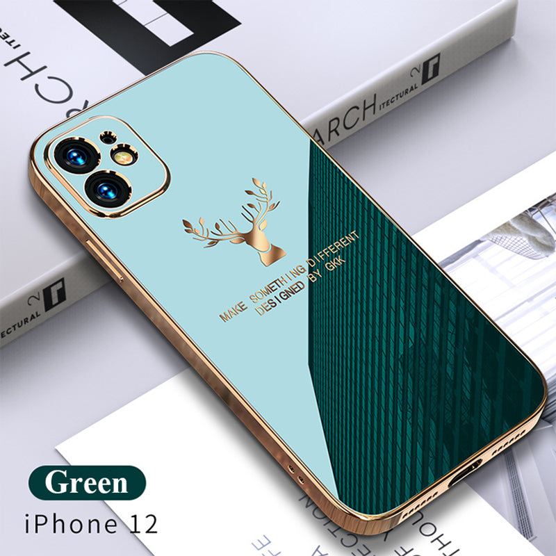 2020 Luxury Plating Deer Pattern Phone Case For iPhone 12, 11, X, 8, 7, SE Series