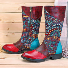 Load image into Gallery viewer, Bohemian Splicing Pattern Zipper Flat Leather Knee Boots