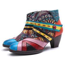 Load image into Gallery viewer, Women's Bohemian Color Splicing Pattern Side Zipper Ankle Leather Boots | Block Heel Ankle