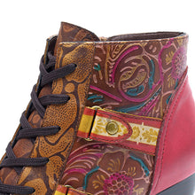 Load image into Gallery viewer, Vintage Style Handmade Leather Comfort Women's Boots with Vintage Ethnic