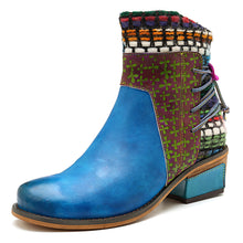 Load image into Gallery viewer, Cowgirl Retro Weave Genuine Splicing Leather Pattern Adjustable Comfortable Boots