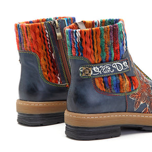 Delicate Pattern of Bohemian Color Leather Boots