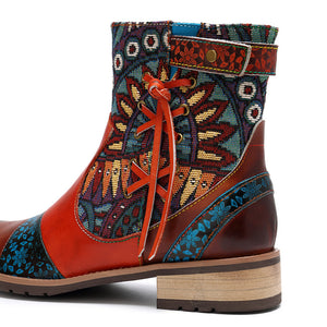 Leather Printed Ladies Leather Jacquard Women's Boots Cowgirl Boots