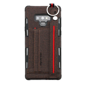 British Style Canvas Pattern Multi-function Leather Phone Case For Samsung