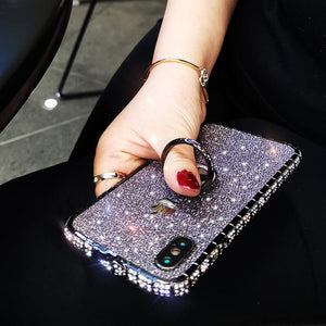 Diamond High Quality Line Black Glitter Ring Phone Case For iPhone