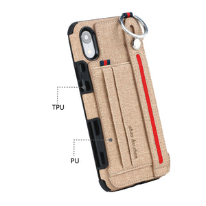 Metal Buckle Wrist Strap Bracket Card Slot Phone Case