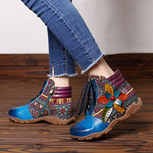 Load image into Gallery viewer, Casual Genuine Leather Splicing Jacquard Women Flat Boots