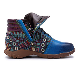 Casual Genuine Leather Splicing Jacquard Women Flat Boots