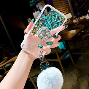2019 New Diamond-shaped iPhone & Samsung Case with PopSockets and Hairball