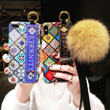 Load image into Gallery viewer, Luxury Wristband Bohemia Foxfur Ball Phone Case For iPhone - hotbuyy