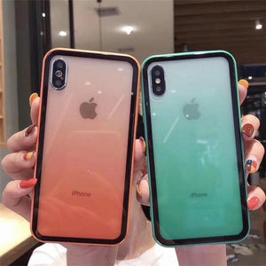 2019 Summer Gradient Glass Candy Color iPhone Case