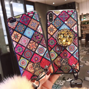 Rhinestone Pattern Retro Case for iPhone