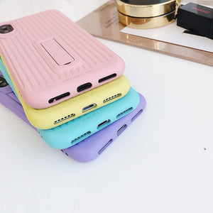 Stripe Candy Colors Suitcase iPhone Case With Stand