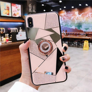 2019 New High Quality Diamond iPhone Case with Ring and Lanyard