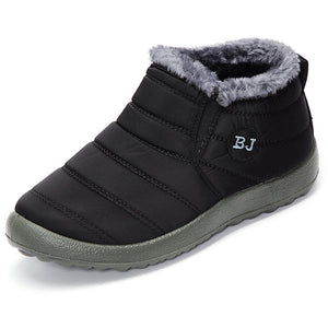 Letter Warm Fur Lining Flat Black Sole Boots