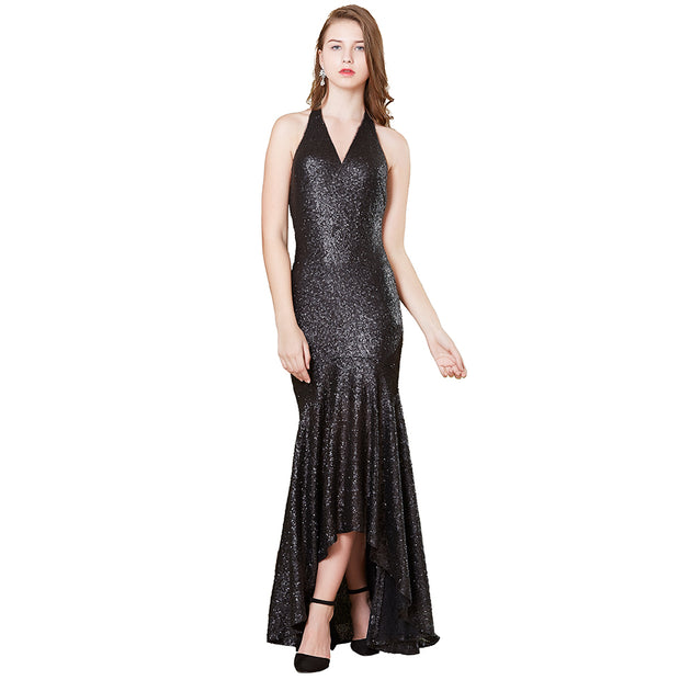 Slashed Up Sequin Formal Dress With Long Sleeve For Cocktail Party