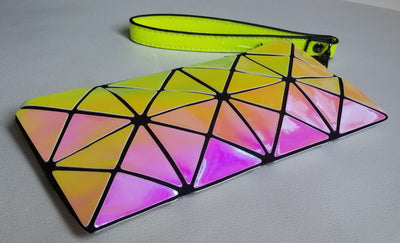 Junell5 Holographic Yellow-Pink Cellphone Wristlet