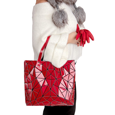 Junell5 Red Metallic Geometric Tote Bag
