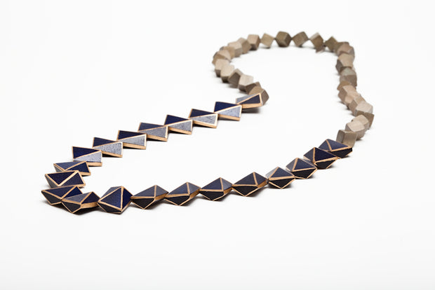 Avenue Chic Two Tone Pyramid Long Necklace