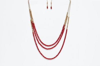 Avenue Chic Double Long Necklace & Earrings Set - The Gathering Shops