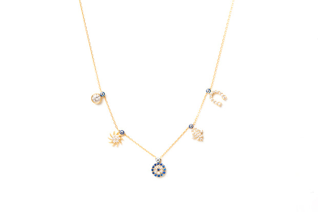 Avenue Chic Multi Charm Evil Eye Necklace - The Gathering Shops