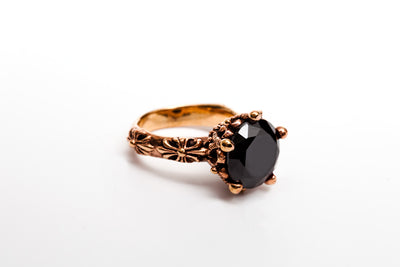 Avenue Chic Onyx Flower Ring - The Gathering Shops