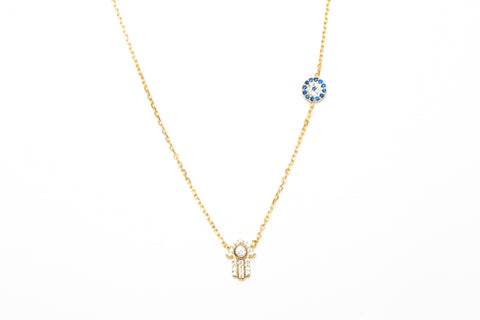 Avenue Chic Tiny Evil Eye And Hamsa Necklace - The Gathering Shops