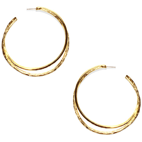 Avenue Chic Double Hoop Earrings - The Gathering Shops