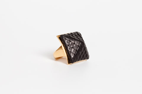 Avenue Chic Exotic Leather Pyramid Ring - The Gathering Shops