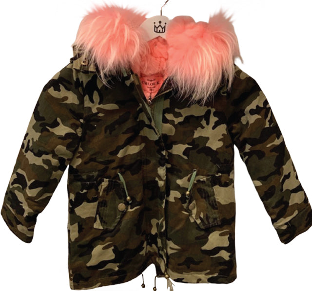 Chloe K Kids Camo Parka with Light Pink Fur Collar - The Gathering Shops