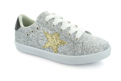 Hoo Shoes Mia Star Silver Glitter Lace Sneaker - The Gathering Shops