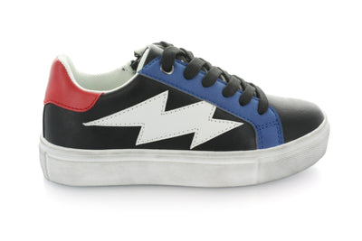 Riley Lightining Bolt Lace Sneaker - Black