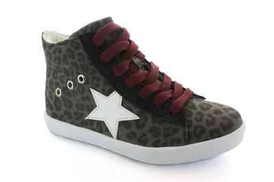 Hoo Shoes Arias Star Leopard Print Lace High Top - The Gathering Shops
