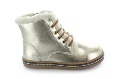 Hoo Shoes Aubreys Gold Fur Lace Boot - The Gathering Shops
