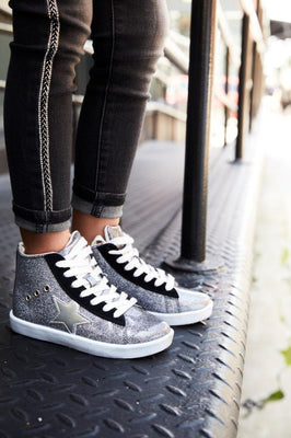 Hoo Shoes Arias Star Lace High Top - Silver Glitter - The Gathering Shops