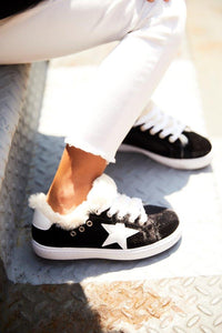 Hoo Shoes Avas Fur Star Black Velvet Lace Sneaker - The Gathering Shops
