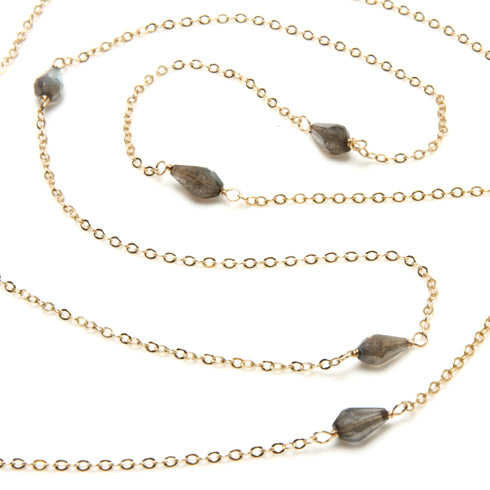 Dana Blair Long Faceted Labradorite & Gold Filled Necklace
