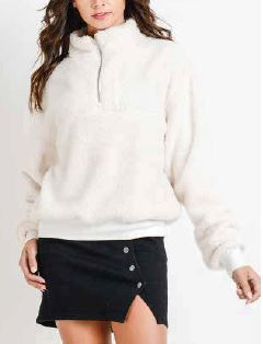 Whimtee Sherpa White Quarter Zip Collar Jacket - The Gathering Shops