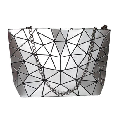 Junell5 Silver Metallic Geometric Chain Crossbody Bag - The Gathering Shops