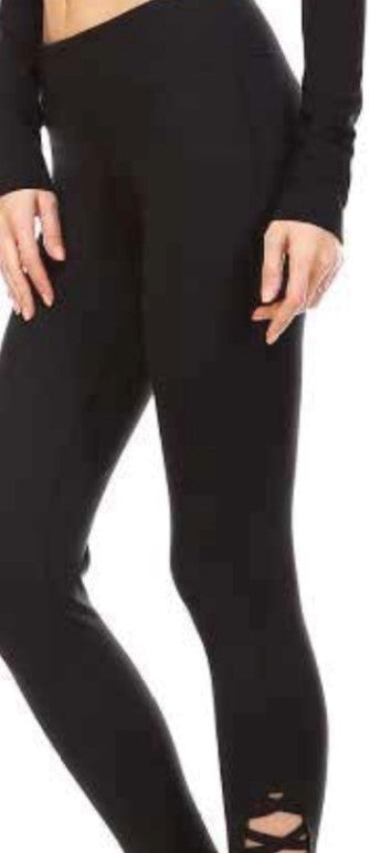 Whimtee Criss Cross Black Capri Leggings