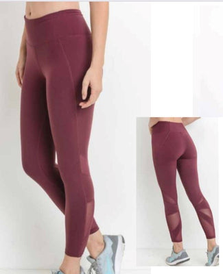 Whimtee Maroon Mesh Capri Leggings - The Gathering Shops