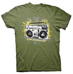 Digmi Boombox Olive Green Short Sleeve T-Shirt - The Gathering Shops