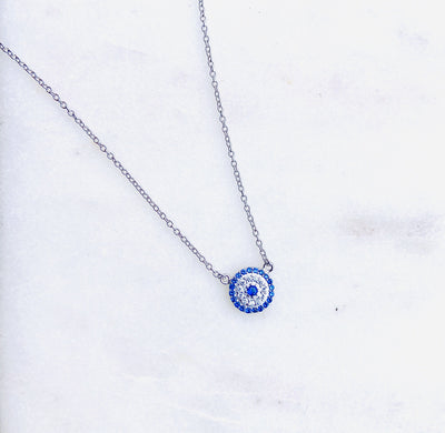 Lily Max Blue Evil Eye Circle Silver Necklace - The Gathering Shops