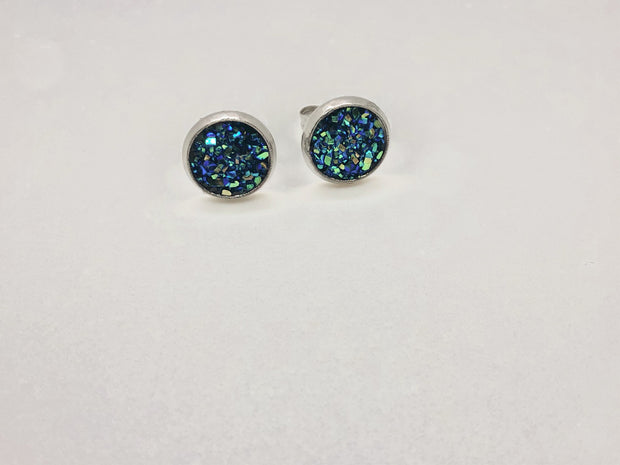Nolu Jewels Dark Turquoise Druzy Earrings - The Gathering Shops