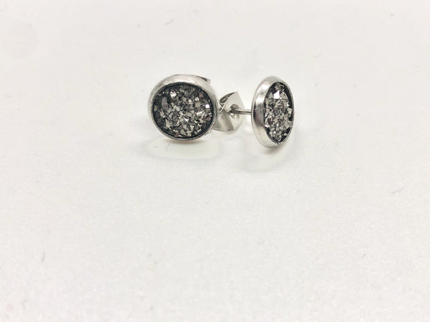 Nolu Jewels Dark Silver Druzy Earrings - The Gathering Shops