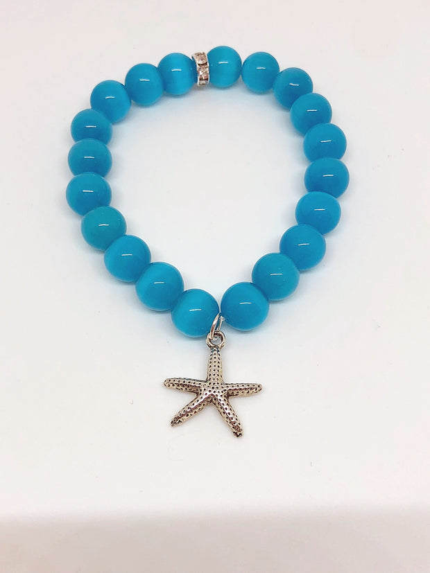 Nolu Jewels Aqua Catseye Beaded Bracelet With Antiqued Starfish Charm - The Gathering Shops