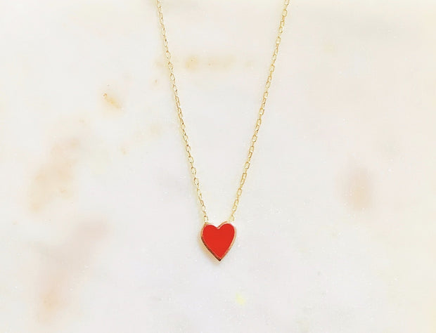 Lily Max Sterling Silver Queen of Hearts Enamel Necklace