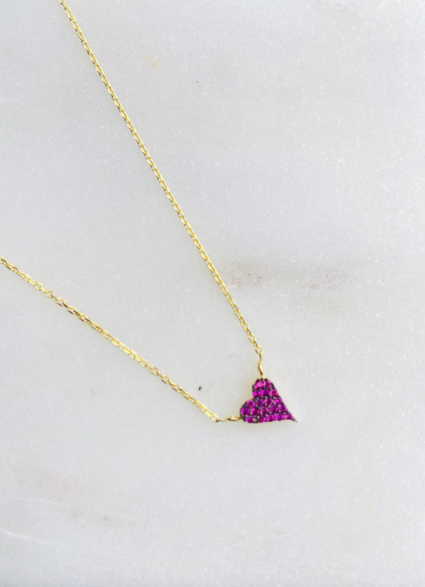 Lily Max Tiny Red Heart Gold Necklace - The Gathering Shops