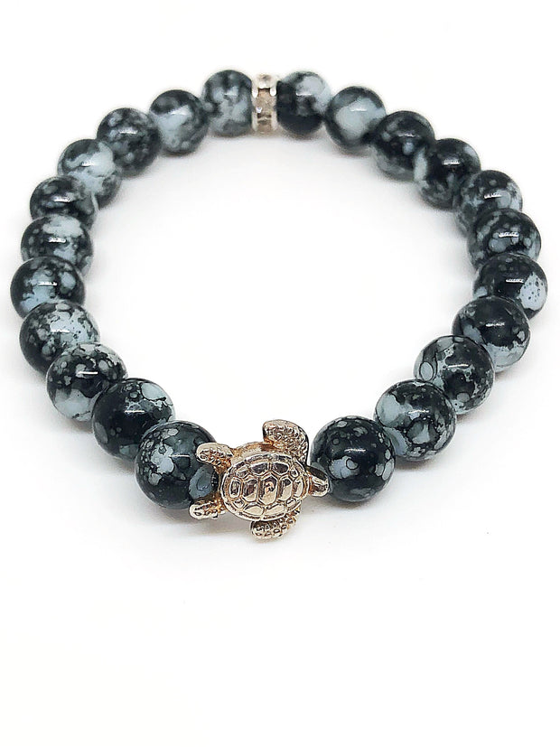 Nolu Jewels Black Striped Agate Stone Bracelet With Antiqued Turtle - The Gathering Shops